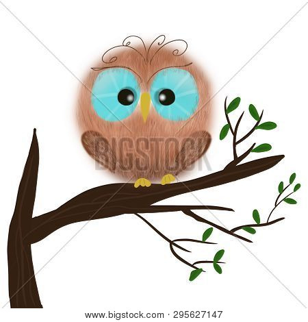 Fluffy Owl On A Tree Branch. Cute Cartoon Character.
