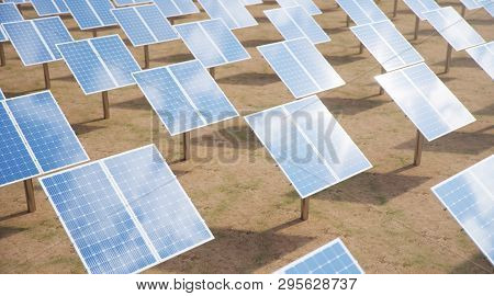 3d Illustration Solar Panels. Alternative Energy. Concept Of Renewable Energy. Ecological, Clean Ene