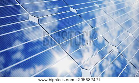 3d Illustration Solar Panels Close-up. Alternative Energy. Concept Of Renewable Energy. Ecological,