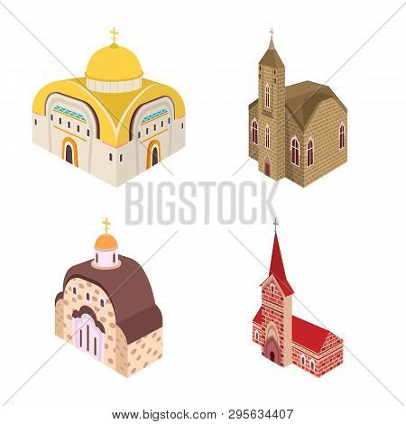 Isolated Object Of Architecture And Building Symbol. Set Of Architecture And Clergy Stock Vector Ill