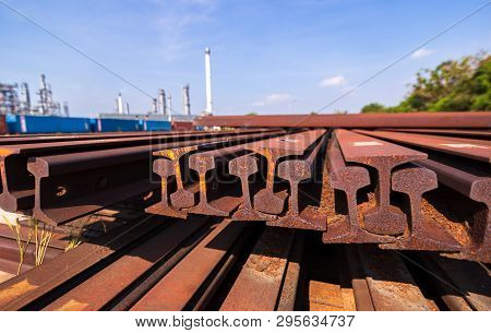 Metal Frame H Beam Or Beam In Red Orange Color At Construction Site.