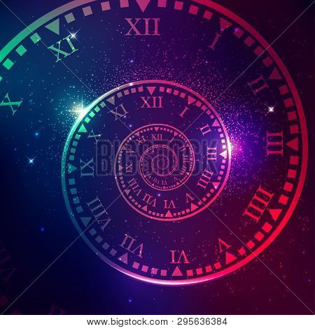 Concept Of Space Of Time In The Universe, Spiral Clock With Galaxy Star Background