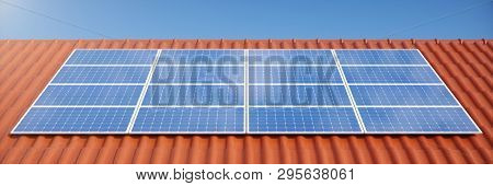 3d Illustration Solar Panels On A Red Roof Of A House. Solar Panels With Reflection Beautiful Blue S