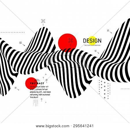 Black And White Design. Pattern With Optical Illusion. Abstract 3d Geometrical Background. Vector Il