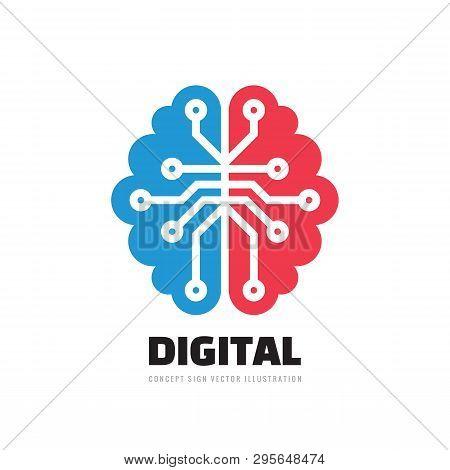 Digital Human Brain - Vector Logo Template Concept Illustration. Mind Sign. Education Thinking Symbo