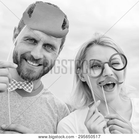 Couple Posing With Party Props Sky Background. Humor And Laugh Concept. Photo Booth Props. Man With
