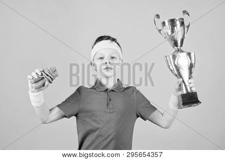 Happy Child Sportsman Hold Champion Cup Trophy. Fitness And Diet. Energy. Gym Workout Of Teen Boy Wi