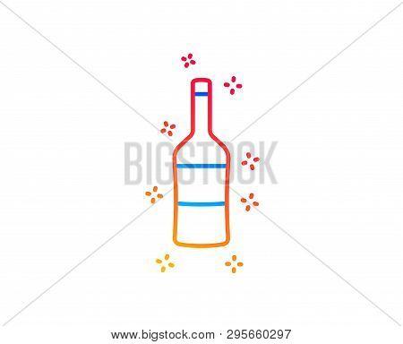 Wine Bottle Line Icon. Merlot Or Cabernet Sauvignon Sign. Gradient Design Elements. Linear Wine Icon