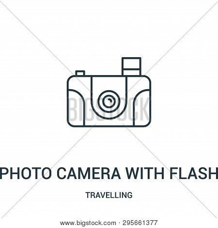 Photo Camera With Flash Icon Isolated On White Background From Travelling Collection. Photo Camera W