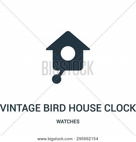 Vintage Bird House Clock Icon Isolated On White Background From Watches Collection. Vintage Bird Hou