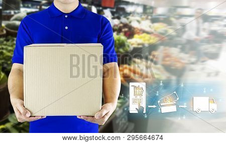 Delivery Man Hand Holding Paper Box In Blue Uniform For Delivering Package And Icon Media On Store B