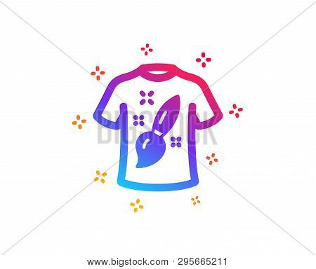 T-shirt Design Icon. Creative Brush Sign. T Shirt Graphic Art Symbol. Dynamic Shapes. Gradient Desig