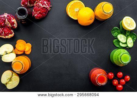 Vegetable And Fruit Juice In Bottles For Diet Drink On Black Background Top View Mock Up