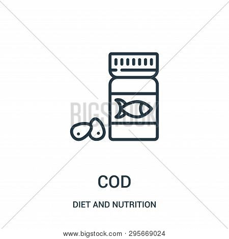 Cod Icon Isolated On White Background From Diet And Nutrition Collection. Cod Icon Trendy And Modern