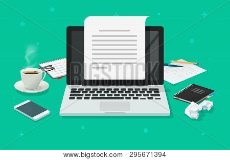 Writer Workplace And Computer Paper Sheet Vector Illustration, Flat Cartoon 3d Copywriter Workspace
