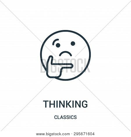 Thinking Icon Isolated On White Background From Classics Collection. Thinking Icon Trendy And Modern