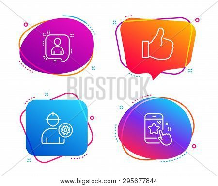 Engineer, Developers Chat And Like Icons Simple Set. Star Rating Sign. Worker With Cogwheel, Manager