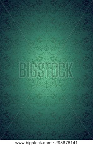 Green Vintage Background ,royal With Classic Baroque Pattern, Rococo With Darkened Edges Background(