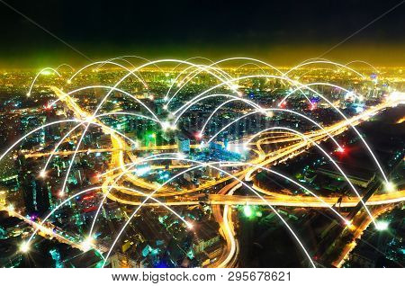 Futuristic Design Of Network Worldwide And Global Connection Of Internet Of Things. Cityscape At Nig