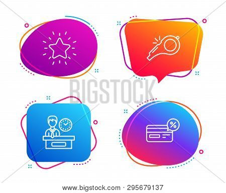 Rank Star, Whistle And Presentation Time Icons Simple Set. Cashback Sign. Best Result, Kick-off, Rep