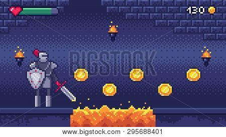 Retro Computer Games Level. Pixel Art Video Game Scene 8 Bit Warrior Character Collects Gold Coins,