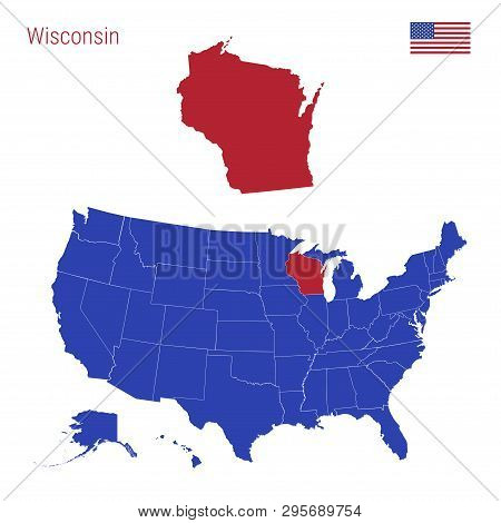 The State Of Wisconsin Is Highlighted In Red. Blue Vector Map Of The United States Divided Into Sepa