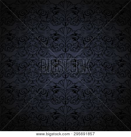 Dark Grey And Black Vintage Background, Royal With Classic Baroque Pattern, Rococo With Darkened Edg