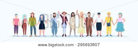 Casual Men Women Standing Together Smiling People With Different Hairstyles Wearing Trendy Clothes M