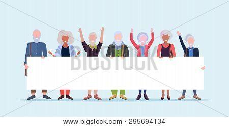 Mature Men Women Standing Together Holding Empty Placard Sign Board Demonstration Concept Senior Gra
