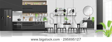 Modern Black And White House Interior Background With Kitchen And Dining Room Combination , Vector ,