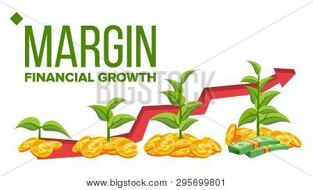 Margin, Financial Growth Vector Web Banner Template. Margin Profit, Income. Diagram, Chart, Graph Ar