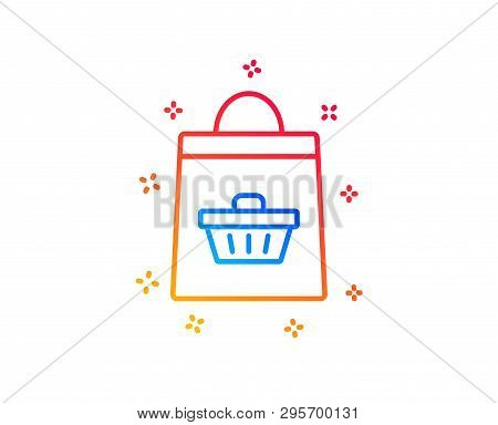 Shopping Bag With Cart Line Icon. Supermarket Buying Sign. Sale Symbol. Gradient Design Elements. Li