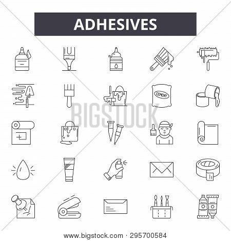 Adhesives Line Icons, Signs Set, Vector. Adhesives Outline Concept, Illustration: Adhesive, Isolated