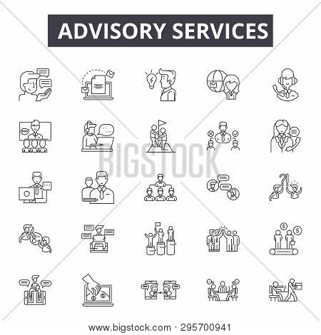 Advisory Services Line Icons, Signs Set, Vector. Advisory Services Outline Concept, Illustration: Ad