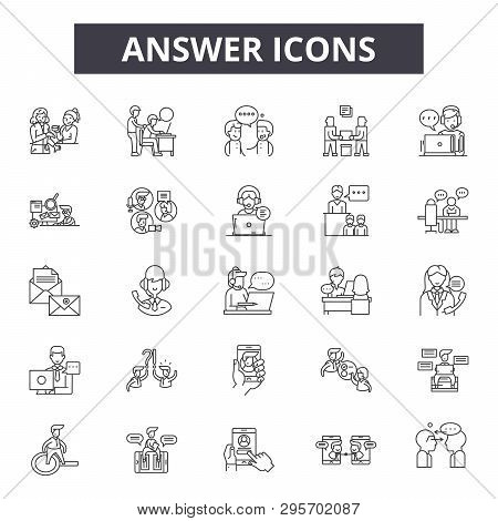 Answer Line Icons, Signs Set, Vector. Answer Outline Concept, Illustration: Answer, Question, Faq, M