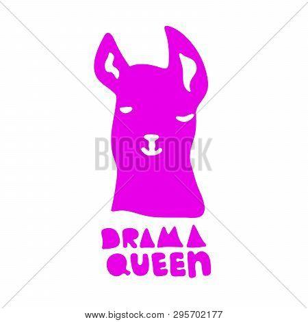 No Drama Llama. Drama Queen. Cute Pink Alpaca Cartoon Character. Vector Illustration With Lettering