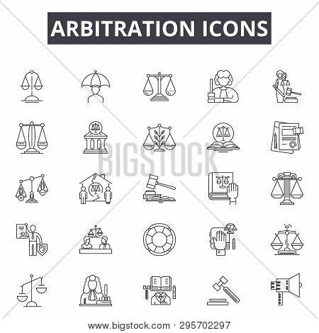 Arbitration Line Icons, Signs Set, Vector. Arbitration Outline Concept, Illustration: Legal, Law, Ju
