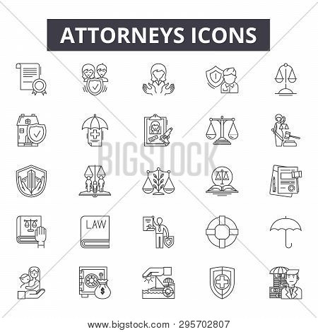 Attorneys Line Icons, Signs Set, Vector. Attorneys Outline Concept, Illustration: Law, Attorney, Cou