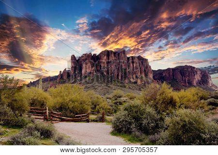 Arizona Superstition Mountains Sunrise, Arizona Desert Sunrise