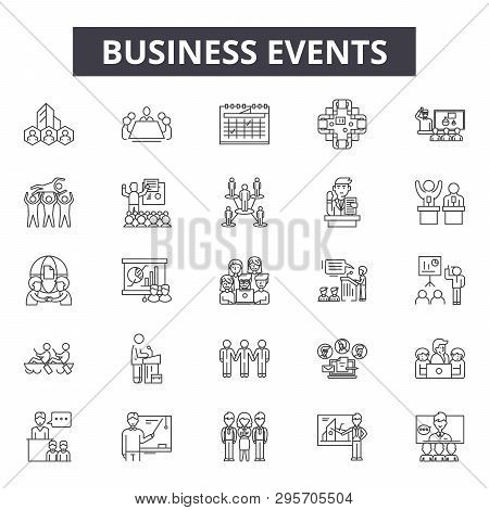 Business Events Line Icons, Signs Set, Vector. Business Events Outline Concept, Illustration: Busine