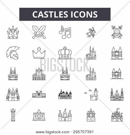 Castles Line Icons, Signs Set, Vector. Castles Outline Concept, Illustration: Castle, Tower, Buildin