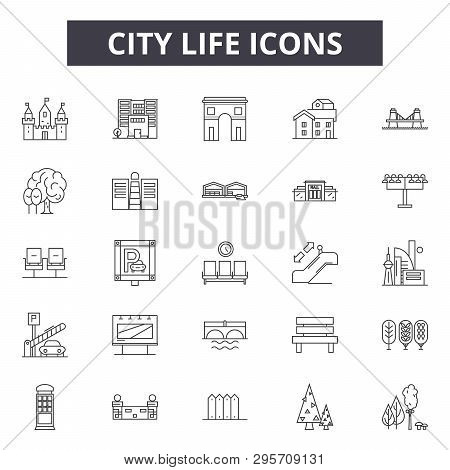 City Life Line Icons, Signs Set, Vector. City Life Outline Concept, Illustration: Life, Building, Ci