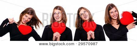 Portrait of a attractive young women holding a red heart over white background