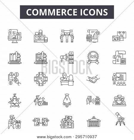 Commerce Line Icons, Signs Set, Vector. Commerce Outline Concept, Illustration: E-commerce, Cart, St