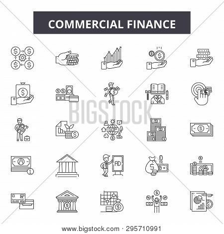 Commercial Finance Line Icons, Signs Set, Vector. Commercial Finance Outline Concept, Illustration: