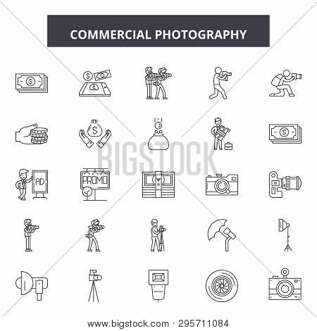 Commercial Photography Line Icons, Signs Set, Vector. Commercial Photography Outline Concept, Illust