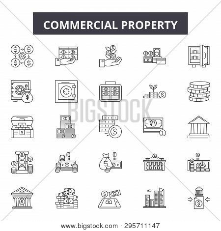 Commercial Property Line Icons, Signs Set, Vector. Commercial Property Outline Concept, Illustration