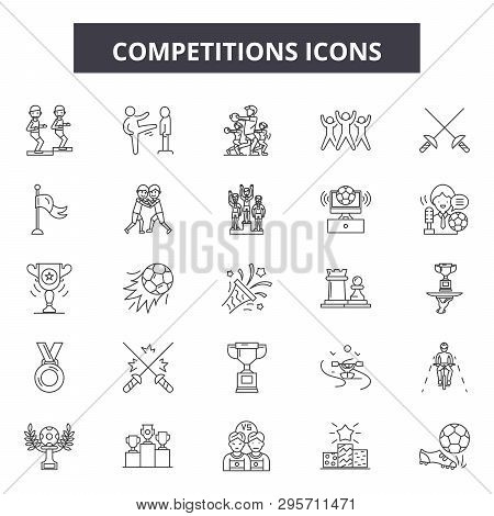 Competitions Line Icons, Signs Set, Vector. Competitions Outline Concept, Illustration: Competition,