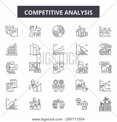 Competitive Analysis Line Icons, Signs Set, Vector. Competitive Analysis Outline Concept, Illustrati