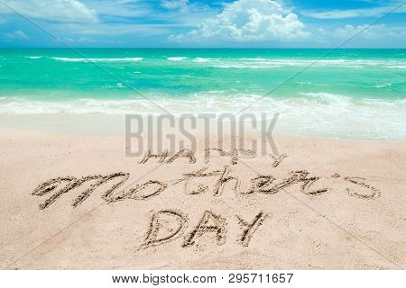 Happy Mothers Day Beach Background With Handwritten Lettering